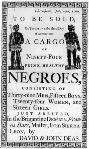 Slave auction, Charleston, 1769