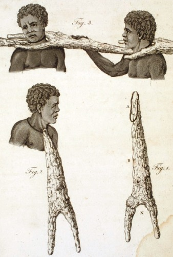 Wooden coffles used on slaves