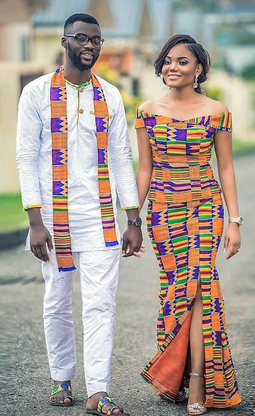 Bridal couple in Kente attire