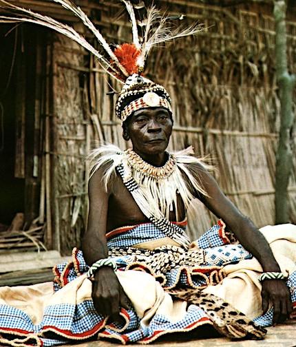 Kuba Elder in full ceremonial dress