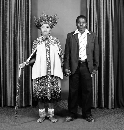 Western Husband and Wife attired in Zulu traditional dress - Moodley
