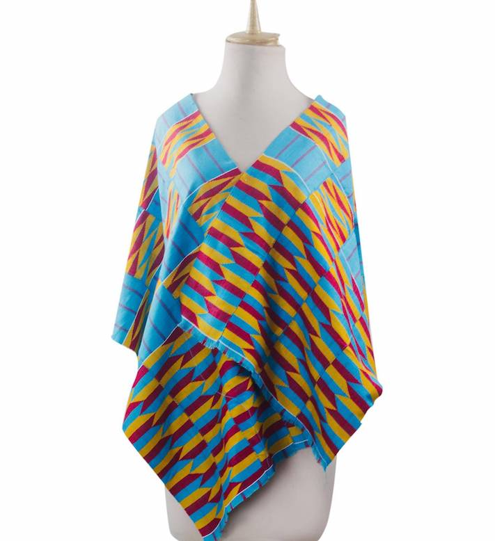 Ghanaian 4-Strip Kente Cloth Shawl in Turquoise and Yellow, 'Artisan Hands'