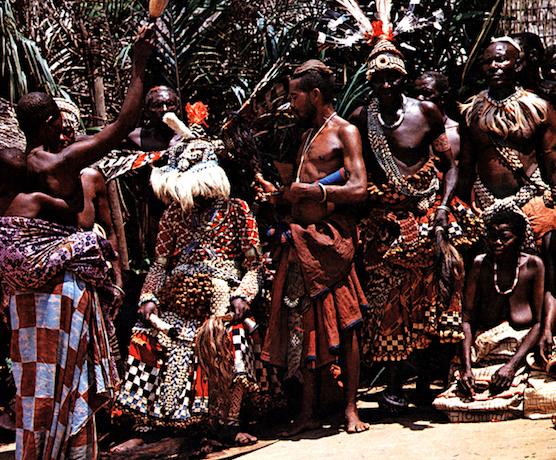 Festival dance showing kuba overskirts of twool