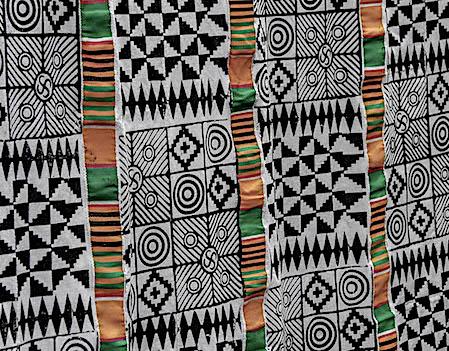 Adinkra with Kente strips sewn creating stripes