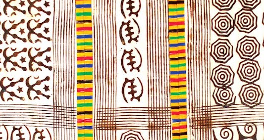 Adinkra with whip-stitched, strip embroidery