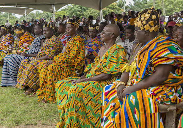 Chiefs of the Agotime Traditional Area wearing silk, cotton or rayon Kente cloth