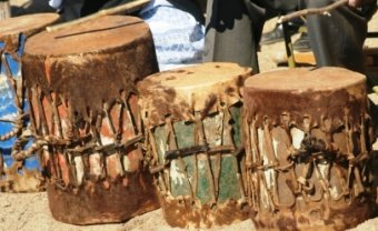 Drums Made From Tin Cans With Interlaced Skin Membranes Shangaan Zimbabwe