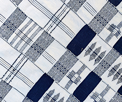 Indigo blue and white Kente cloth