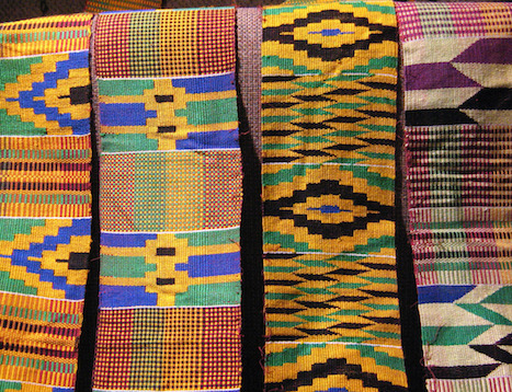 hanging kente strips ready to be sewn together