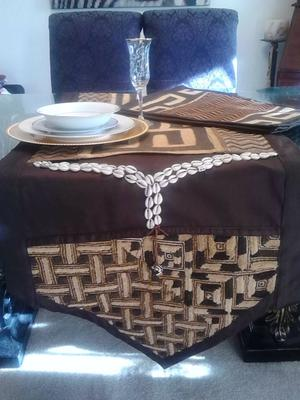 Kuba and Cowrie Shell Table Runner and Place Mats