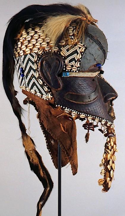 Exceptional Kuba mask, wood, raffia, skin, beads, cowries