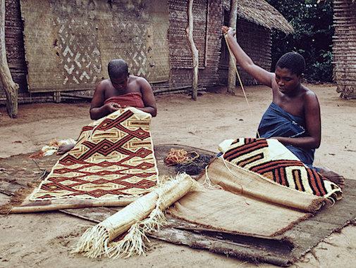 Kuba women making Kuba cloth, DRC, 1970