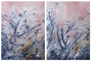Chiedza I and II diptych, acrylic