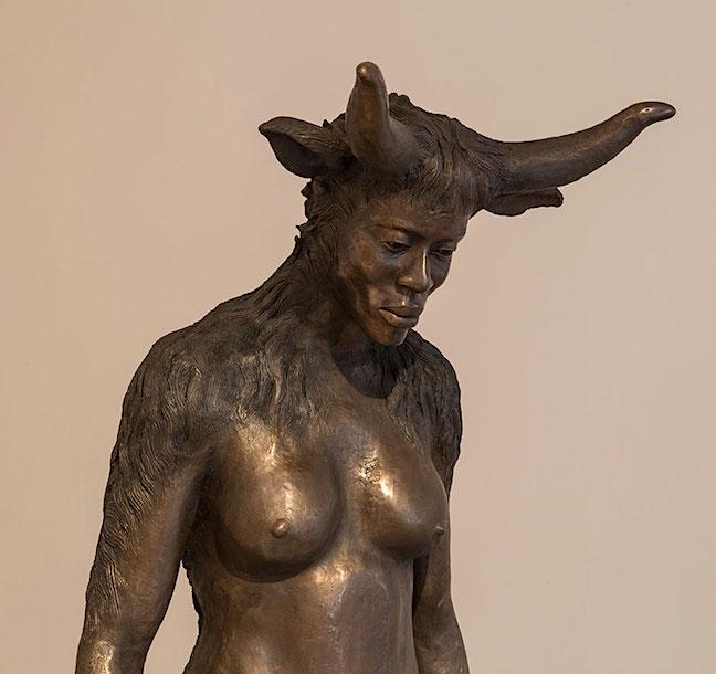 Mntambo, 'Minotaurus', 2015 Bronze, sandstone base