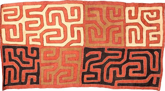 Kuba applique cloth, red, black and ochre dyes