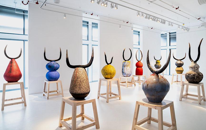 iLobola 12 ceramic sculptures with bronze horns