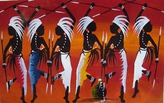 African Ceremony Oil on Canvas
