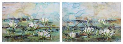 White waterlilies, acrylic